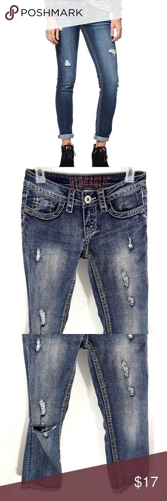 Hydraulic jeans French Cuffs Distressed Size 3/4 Womens Hydraulic jeans Bailey Distressed Embellished Size 3/4 French Cuffs Hydraulic Jeans Skinny