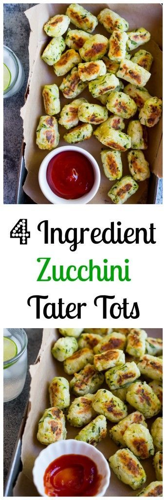 4-Ingredient Zucchini Tater Tots!  These baked tater tots are crispy, delicious and so easy to make!