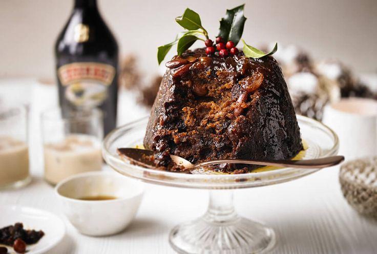Baileys Christmas pudding with Baileys syrup