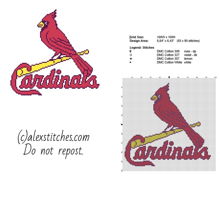 St. Louis Cardinals Major League Baseball MLB team logo free cross stitch pattern