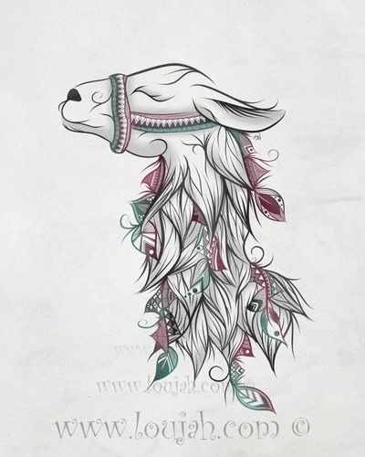 LouJah - Llama #art #loujah #digital #illustration #draw #drawing #dessin #boho #tattoo