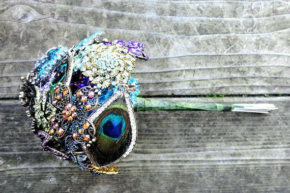 Peacock Brooch Bouquet