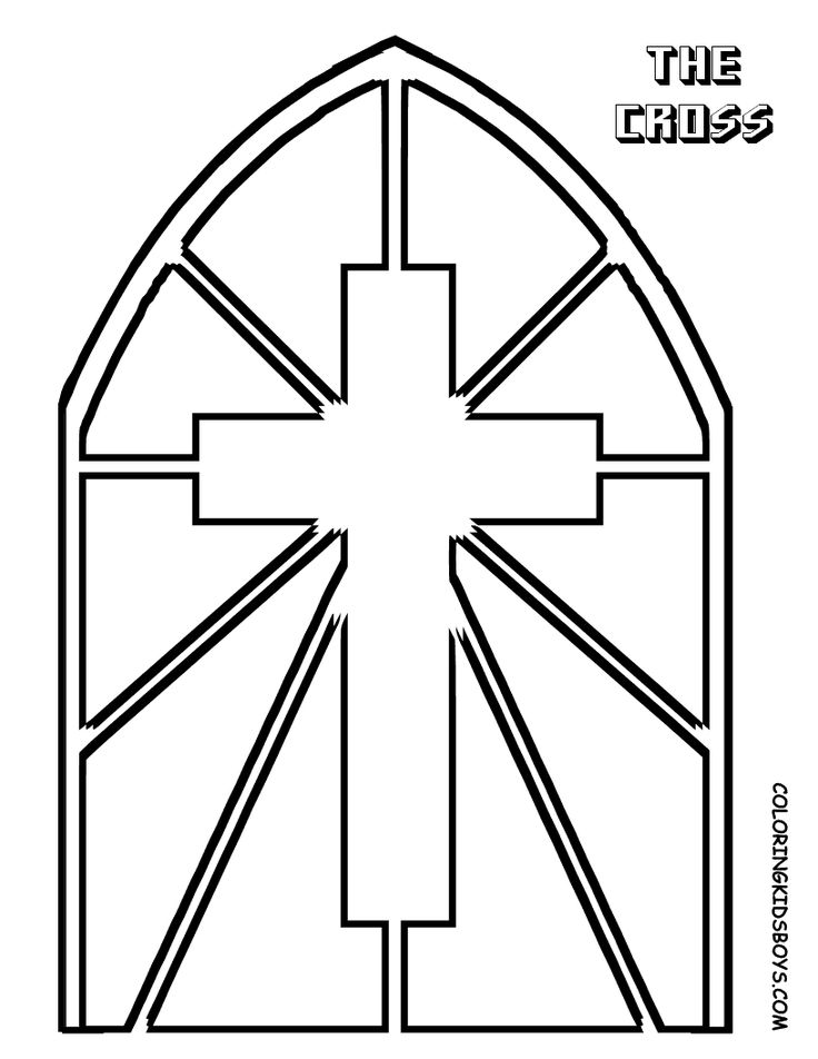 Printable Stained Glass Cross Coloring Page Stain Glass Cross