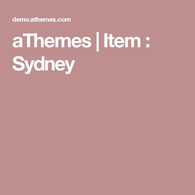 aThemes | Item : Sydney