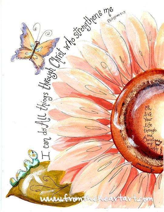 Peach Flower Strength Print (Philippians 4:13)