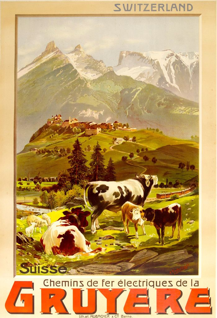GRUYERE, Switzerland - Anton Reckziegel. 1906 Original Vintage Travel Poster, depicting the village of Gruyere and its surroundings in a romantic turn of the century style.  #UpscaleYourWalls with ruemarcellin.com