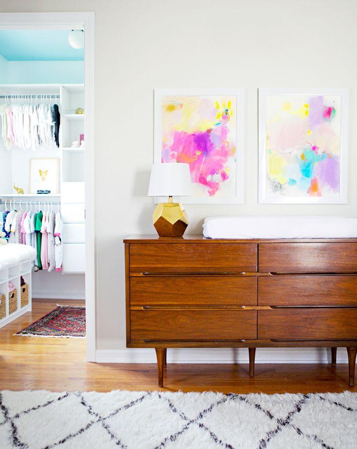 #lamp, #artwork, #midcentury    Read More: http://www.stylemepretty.com/living/2014/04/28/avas-neutral-chic-nursery/