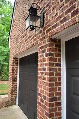Image Result For Dark Red Brick House With Black Shutters Garage Door
