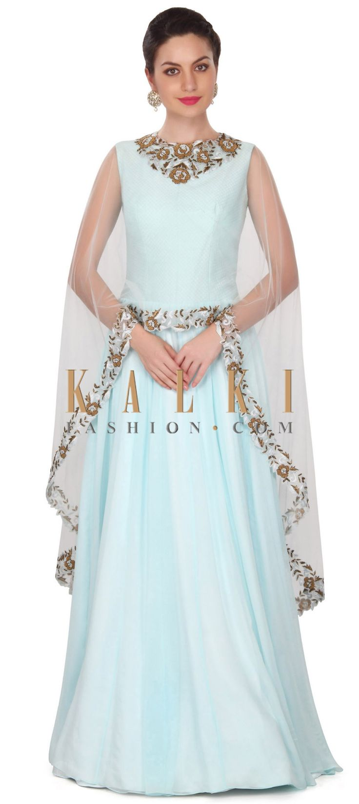 Buy this Sky blue dress matched with embroidered cape only on Kalki