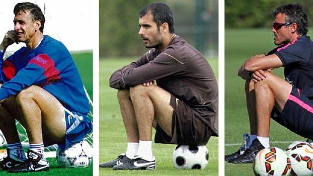 Luis Enrique emulates to Johan Cruyff and Josep Guardiola