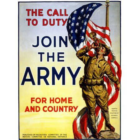 WWI The Call To Duty Join The Army For Home And Country Canvas Art - (18 x 24)