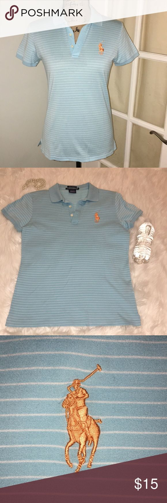 🏌️👕 Ralph Lauren Women's Golf Polo 🏌 👕 🏌️👕Taylored Golf Fit Ralph Lauren Polo 🏌 👕  Pretty Aqua color with white Stripes! Pretty and vibrant orange colored Polo emblem! Size: Small Small hole from security tag when purchased (picture) and small stain on back of Polo (also pictured) Offers welcome! ☺️ Ralph Lauren Tops
