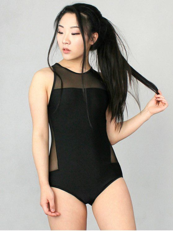 High Neck See-Through One-Piece Transparent Swimsuit - BLACK L Mobile