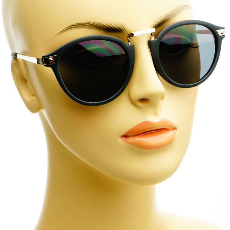 Fashion Retro Vintage Style Metal Arms Designer Round Sunglasses Matte Black #Oem #Aviator