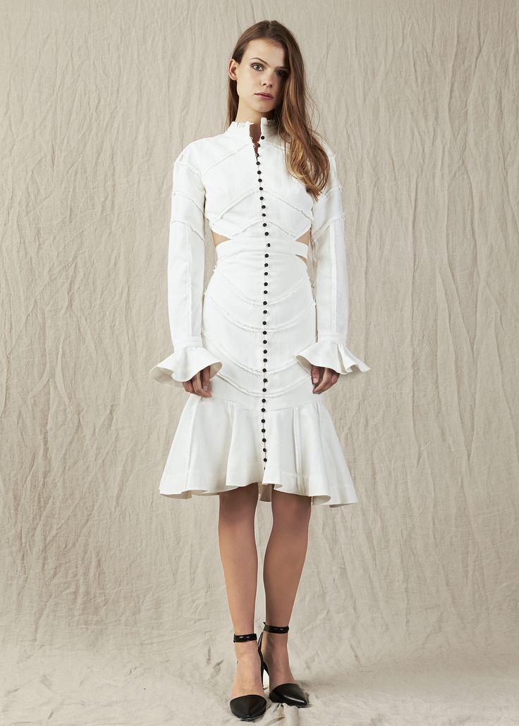 White dress button down front flaired cuffs side slits. Model - Charlotte @ IMG Beauty - Isabella Schimid @ Union Management Photographer - John Rintoul. #AjeTheLabel #Aje #Fashion #Style #LookBook #AW17 #Autumn #Winter #2017 #AustralianFashion #Designer