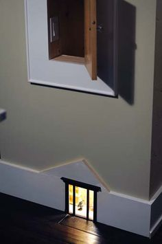"""Mouse House night Light """"brilliant"""" idea: light a tiny cut-out between studs, add a door or pane lines for a window. So cute."""