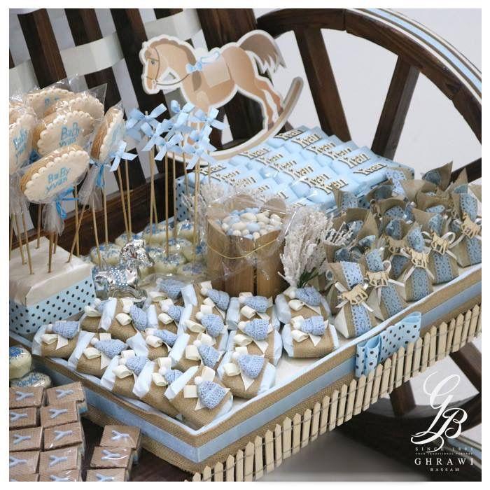 Newborn Baby Boy Stand Chocolate Cookies Decorated
