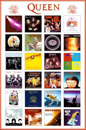 """They simply don't make bands like Queen anymore. No one could sing like Freddie Mercury, and no one made the extraordinary music they created. Songs like """"Bohemian Rhapsody,"""" """"Somebody to Love,"""" and """"Killer Queen"""" are one in a million songs that you can't help but fall in love with. This poster features 24 of their best known albums. A great way to show your appreciation for the band!"""