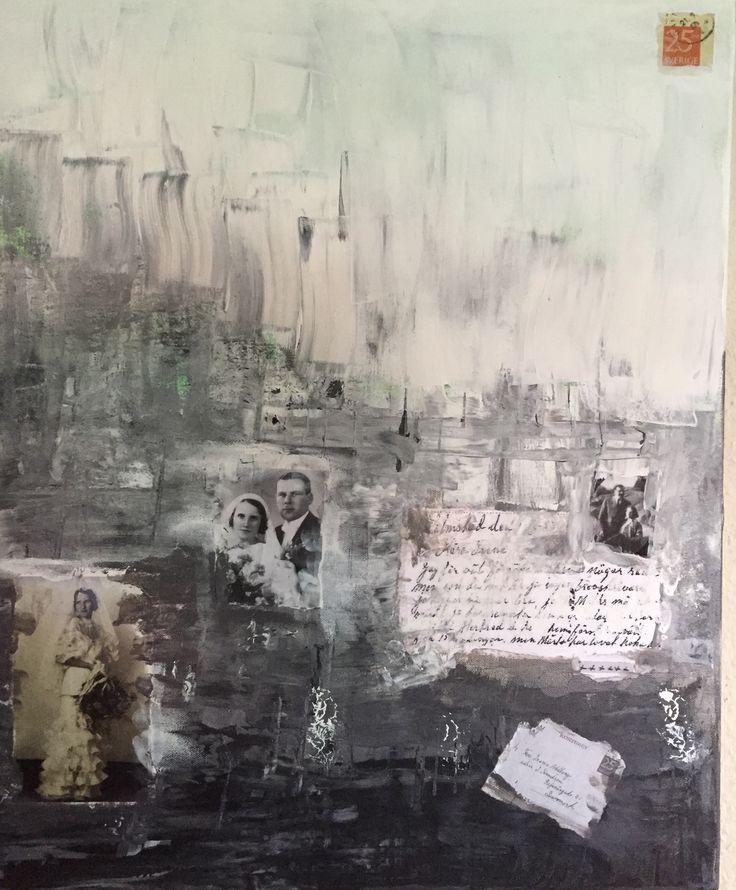 Akryl collage canvas 50x70cm