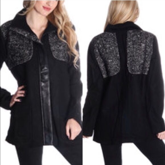 Black Down Coat *Do Not Purchase This Listing* when you are ready to purchase this item, comment with your size and I will create a listing for you. No trades. Price is firm unless bundled. 10% off two or more items. Classic and cute. Warm black long coat with marled fabric patch design on front and back. Zips up front. Faux leather accent. Drawstring at collar. Front pockets. Fully lined. Runs true to size. Jackets & Coats