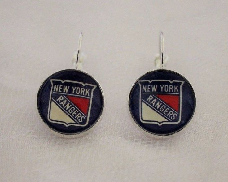 New York Rangers Earrings made from Hockey Trading Cards Great for Game Day…