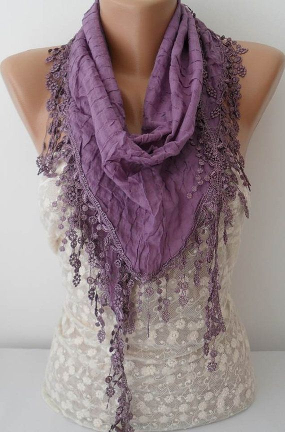 ON SALE Lilac Cotton Scarf Cowl Scarf Womens by JasmineAccessory, $15.90