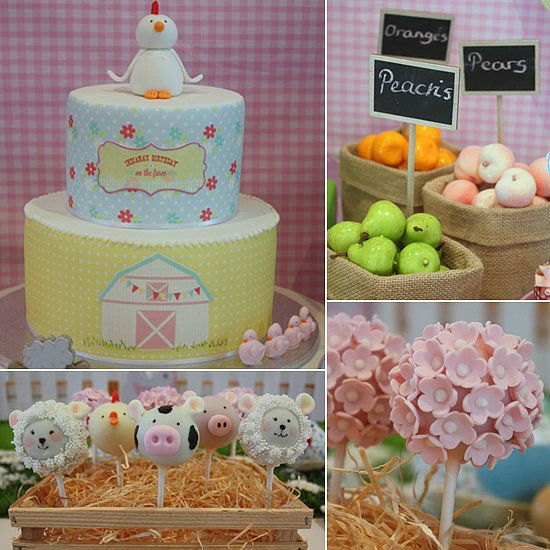 """A Sweet Barnyard Birthday Party: Kate Brown and Yolanda Cerra, the creative minds behind Aussie event company Kiss Me Kate, never cease to amaze us with their gorgeous parties, and this barnyard-inspired birthday bash for 2-year-old Indiana is no exception. """"Our client Megan approached us to design a dessert table,"""" Yolanda says. """"The brief was simple: a farmyard theme with a girlie bent. We achieved this look by incorporating sweet cottage flower prints and a pastel color palette…"""