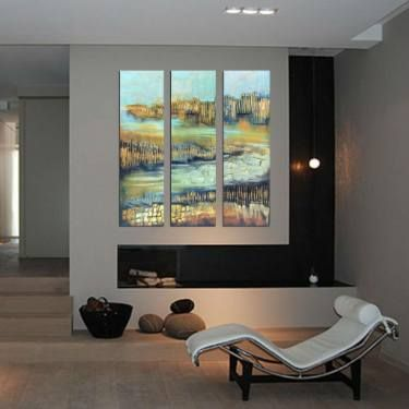 "Saatchi Art Artist Areti Ampi; Painting, ""Triptych set painting abstract…"