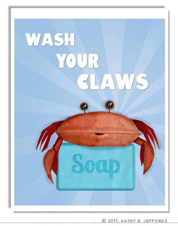 Wash Your Hands Print Crab Art Blue Bathroom Rules Sign