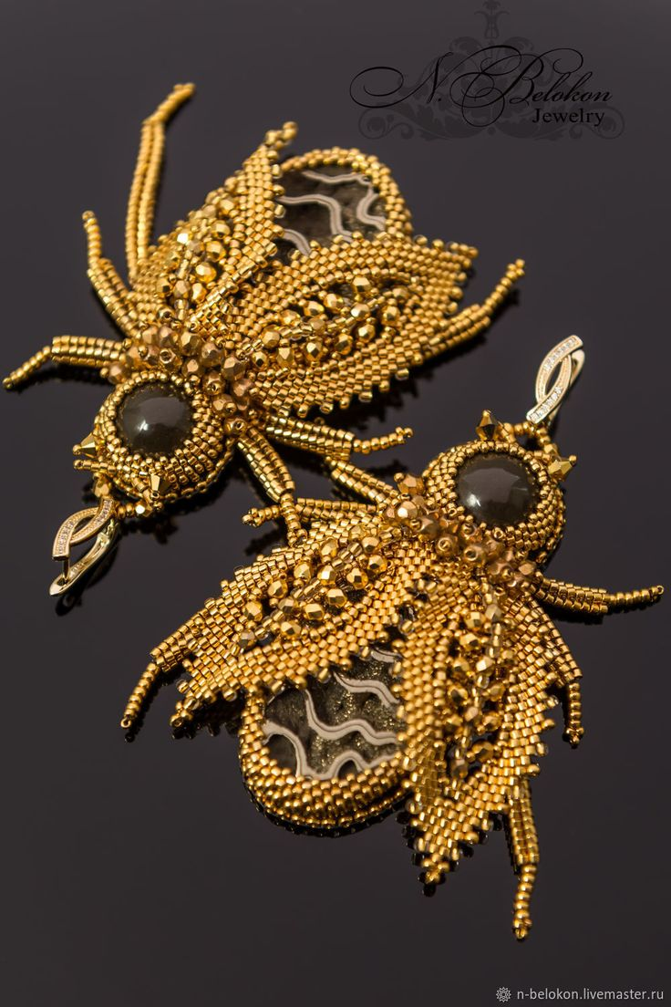 Buy Gold beetle earrings and brooch.Precious beads on Livemaster online shop