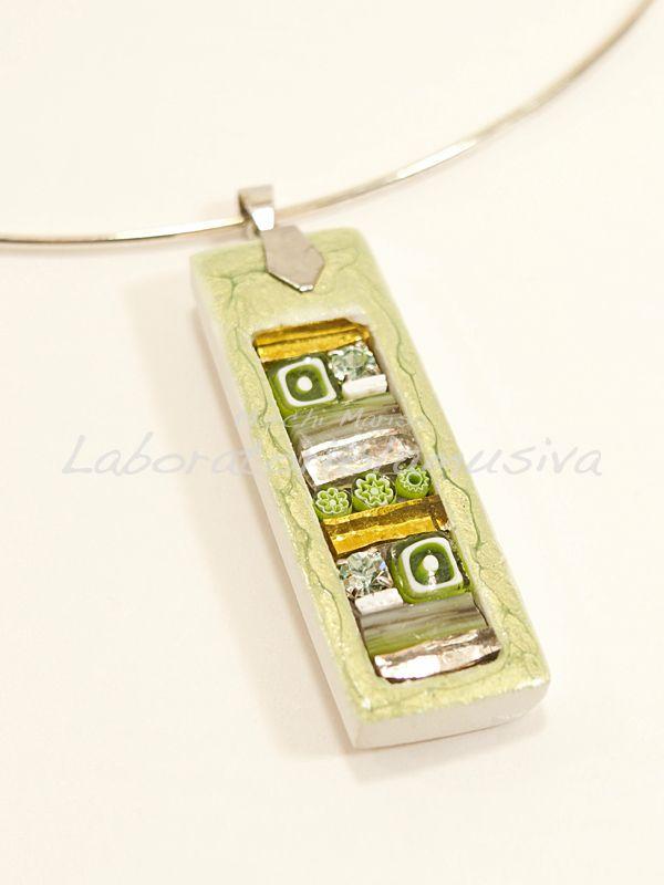 ciondolo ceramica linea mosaico verde chiaro
