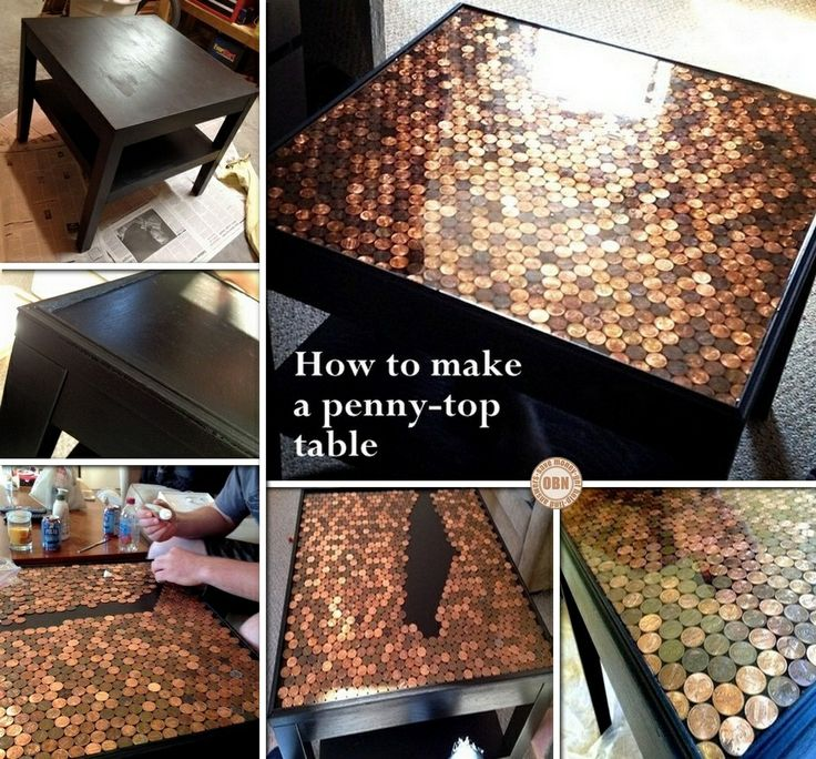 Give your coffee table a makeover! Learn how to make this DIY penny top coffee table by viewing the full album including a link to instructions on our site at http://theownerbuildernetwork.co/q7ki Feeling inspired?