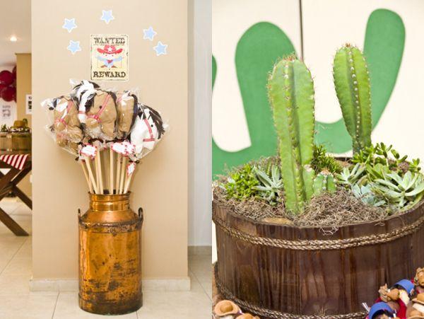 Em homenagem à avó que mora em um rancho nos EUA, Fernando ganhou uma festa de aniversário com tema cowboy. Vaquinhas, cavalos, cactus e bandanas fizeram p
