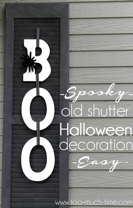 I wanted an easy and fun sign for my front porch. I used ready made letters and this old shutter to create a unique Hallowwen sign that won't scare all of the k…