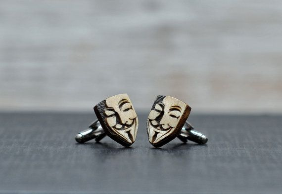 WOOD cufflinks - V for Vendetta - Guy Fawkes mask elegant cuff links