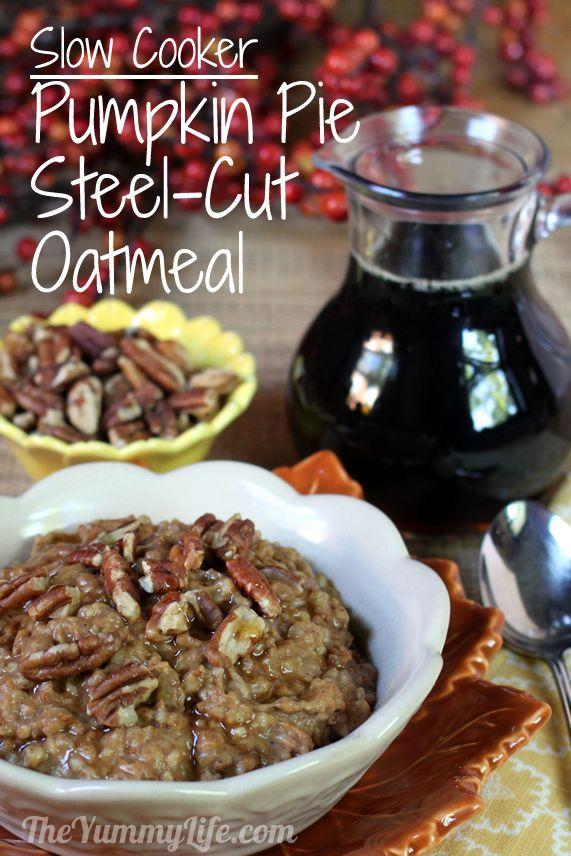 Overnight, Slow Cooker, Pumpkin Pie Steel-Cut Oatmeal. www.theyummylife.com/Slow_Cooker_Pumpkin_Pie_Oatmeal