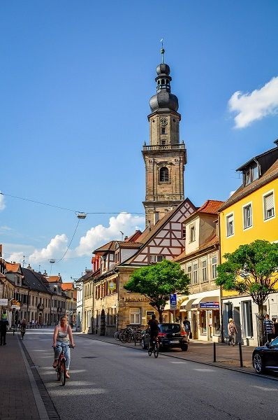 Main street in Erlangen, Germany.