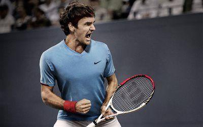 壁紙をダウンロードする ラケット, ロジャー-フェデラー, テニスプレイヤー, 壁紙