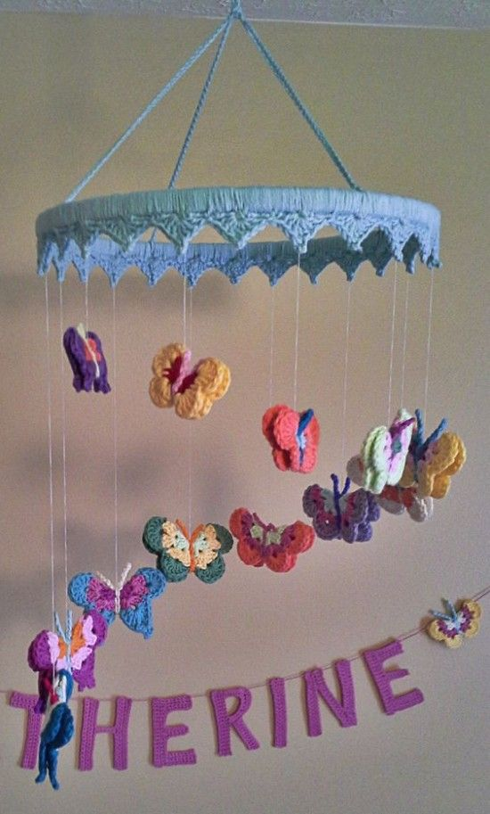 Butterfly Nursery Mobile Free Crochet Pattern