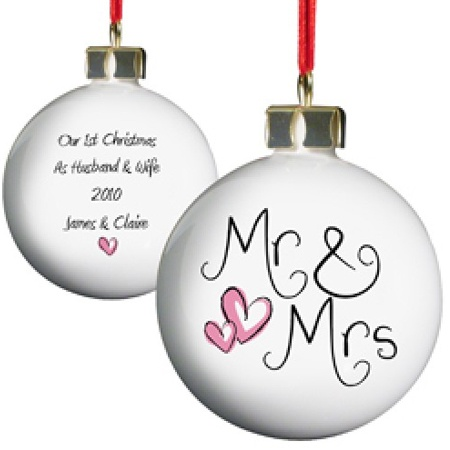 £10.99 Personalised Mr and Mrs Bauble