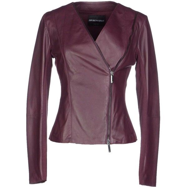 Emporio Armani Jacket ($590) ❤ liked on Polyvore featuring outerwear, jackets, mauve, leather biker jacket, biker jacket, zip jacket, real leather jacket and purple leather jacket
