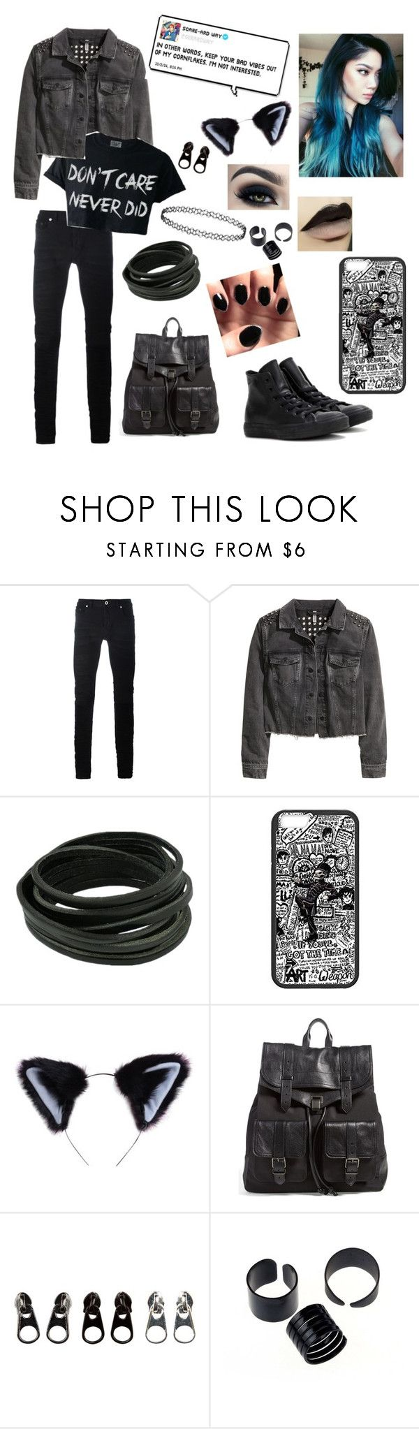 """Untitled #36"" by ryker1001 ❤ liked on Polyvore featuring Diesel Black Gold, H&M, Too Faced Cosmetics, Proenza Schouler, Full Tilt and Converse"