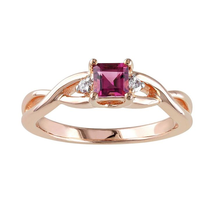 Rose Rhodium-Plated Sterling Silver Pink Tourmaline and Diamond Accent Infinity Ring, Women's, Size: 6