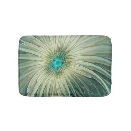 Modern Abstract Fantasy Flower Turquoise Wheat Bathroom Mat - floral gifts flower flowers gift ideas