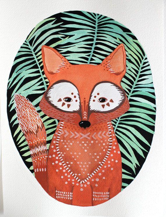 Peinture aquarelle  Fox Illustration Art  noir par RiverLuna, $40.00