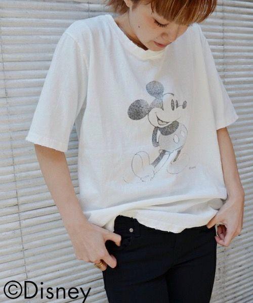 """【楽天市場】【送料無料】 via j by Disney(ヴィアジェイ)""""Mickey Mouse""""Tシャツ【キャナルジーン】【キャラクター】【プリント】【ミッキー】【Tシャツ】【半袖】【ヴィンテージ】【ダメージ】【ホワイト】【グレー】【ベージュ】【レディース】【トップス】:CANAL JEAN キャナルジーン"""
