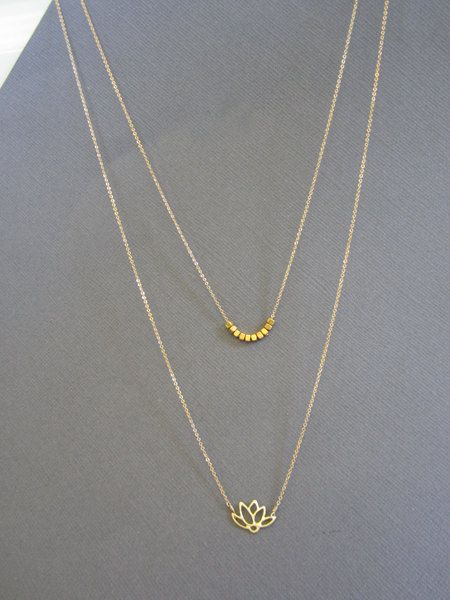 Gold layer necklace, Layered necklace, Lotus charm and Vermeil Nugget necklaces, dainty jewelry, long layer Delicate jewelry