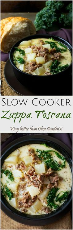 Slow Cooker Zuppa Toscana   The Chunky Chef   The classic zuppa toscana soup, in slow cooker form! It tastes WAY better than Olive Garden's, and is sure to be a crowd pleaser!
