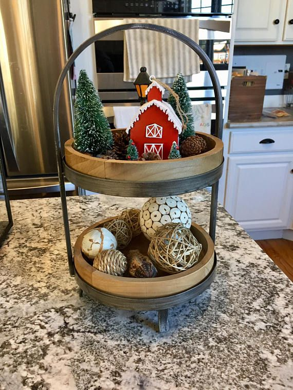 Wood And Metal Tiered Tray Farmouse Decor Love This Gorgeous Fixer Upper Style Tiered Tray Farmhouse Farmhousest Tiered Tray Decor Tiered Tray Tray Decor