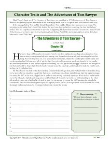 best tom sawyer images mark twain school and character traits worksheets